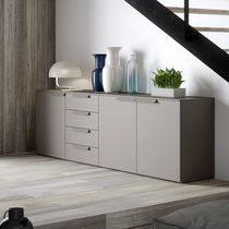 Contemporary sideboard / lacquered wood / gray / beige