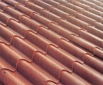 Sheet steel roofing / roof tile look / corrugated