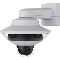 PTZ security camera / wall-mounted / with detector