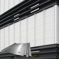Steel cladding / stainless steel / ribbed / lacquered