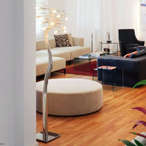 Floor-standing lamp / original design / aluminum / brass