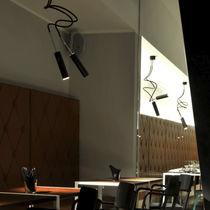 Contemporary ceiling light / nickel / carbon fiber / LED
