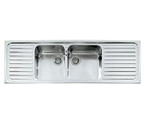 2 bowl stainless steel kitchen sink with drainer F 5159/2V2S ALPES-INOX