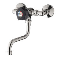 Bathroom sink mixer tap / wall-mounted / chrome-plated brass / self-closing