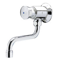 Bathroom sink single tap / wall-mounted / chrome-plated brass / self-closing
