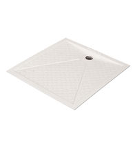 Square shower base / fiberglass / extra-flat / non-slip