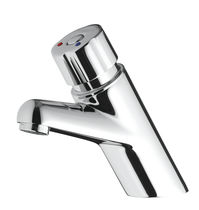 Bathroom sink mixer tap / chrome-plated brass / self-closing / bathroom