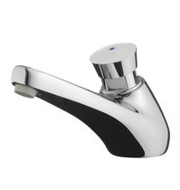 Bathroom sink single tap / deck-mounted / chrome-plated brass / self-closing