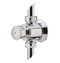 Shower mixer tap / wall-mounted / chromed metal / self-closing