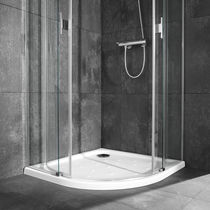 Corner shower base / porcelain / extra-flat / non-slip