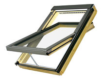 Pivoting roof window / wooden / double-glazed / electric