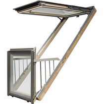 Wooden balcony window / double-glazed / thermally-insulated