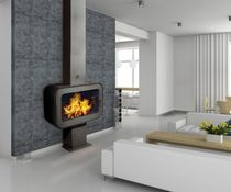 Wood-burning fireplace / contemporary / closed hearth / floor-mounted