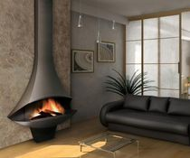 Wood-burning fireplace / contemporary / open hearth / floor-mounted