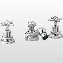 Double-handle bidet mixer tap / free-standing / chromed metal / bathroom