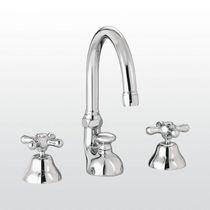 Double-handle washbasin mixer tap / free-standing / brass / nickel