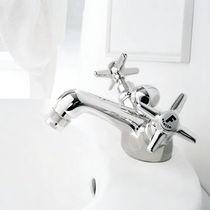 Double-handle bidet mixer tap / free-standing / brass / nickel