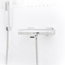 Double-handle bathtub mixer tap / for showers / wall-mounted / chromed metal