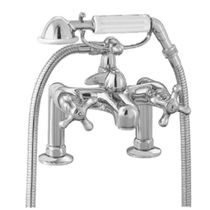 Double-handle bathtub mixer tap / for showers / deck-mounted / chromed metal