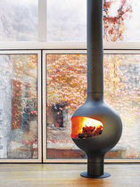 Gas fireplace / wood / contemporary / open hearth