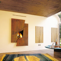 Wood fireplace / original design / closed hearth / double-sided