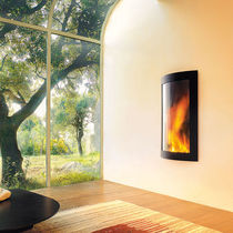 Gas fireplace / wood / contemporary / closed hearth