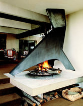 Wood-burning fireplace / original design / open hearth / central