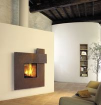 Wood fireplace / contemporary / original design / closed hearth