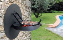 Charcoal barbecue / wood-burning / wall-mounted / steel