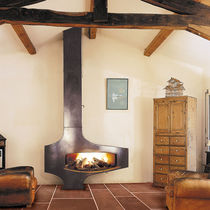 Wood fireplace / original design / closed hearth / free-standing
