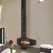 Wood-burning fireplace / original design / closed hearth / free-standing