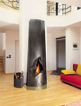 Wood-burning fireplace / original design / open hearth / free-standing