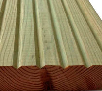 Wooden deck boards / grooved / PEFC-certified