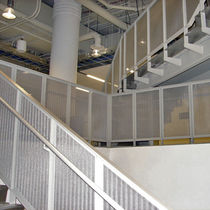 Metal railing / with panels / indoor / for stairs