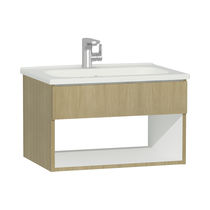 Wall-hung washbasin cabinet / oak / contemporary / with shelves