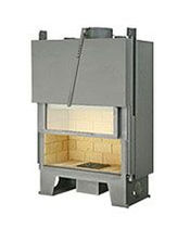 Closed wood hearth / 1-sided / metal / with retractable door