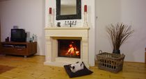 Wood closed hearth / 1-sided / metal / with retractable door