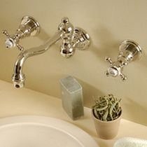 3 hole wall-mounted washbasin double handle mixer tap THETIS MARGOT