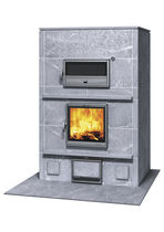 Wood heating stove / contemporary / stone / with oven