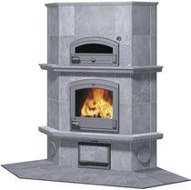 Wood heating stove / traditional / steatite / corner