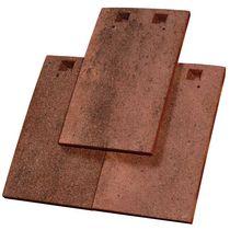 Flat roof tile / clay / aged