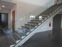 Glass railing / with panels / indoor / for stairs