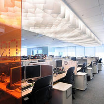 Paper suspended ceiling / floating / acoustic / flame-retardant