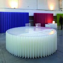 Contemporary table / Plexiglas® / paper / round