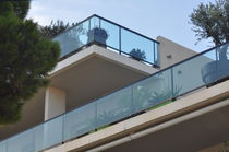 Outdoor railing / glass / aluminum / with bars