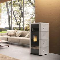Wood heating stove / contemporary / steel / ceramic