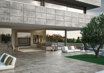 Outdoor tile / for floors / porcelain stoneware / brushed