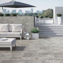 Outdoor tile / for floors / porcelain stoneware / brushed
