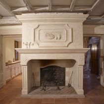 Traditional fireplace mantel / stone / 1-sided