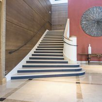 Straight staircase / stone steps / with risers / traditional